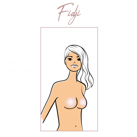 Maxi adhesive nipple covers Fidji gilsa paris in silicone, braless effect, invisible under fine or slinky clothes.