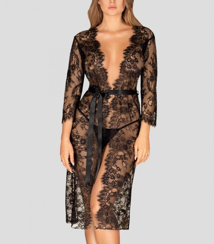 long sheer lace dressing gown romane black gilsa