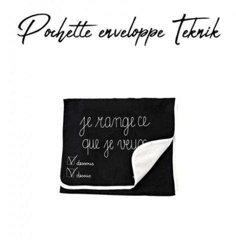 GILSA Paris Envelope pouch in black and gray nylon Teknik 1